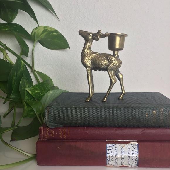 Vintage Brass Deer Candle Stick Holder